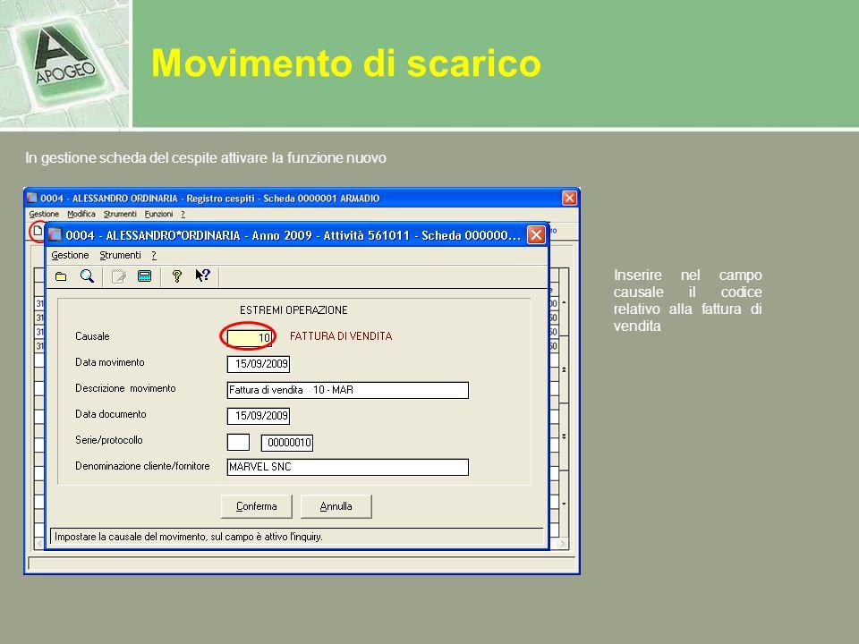 Movimento di scarico In gestione scheda del cespite attivare la funzione nuovo.