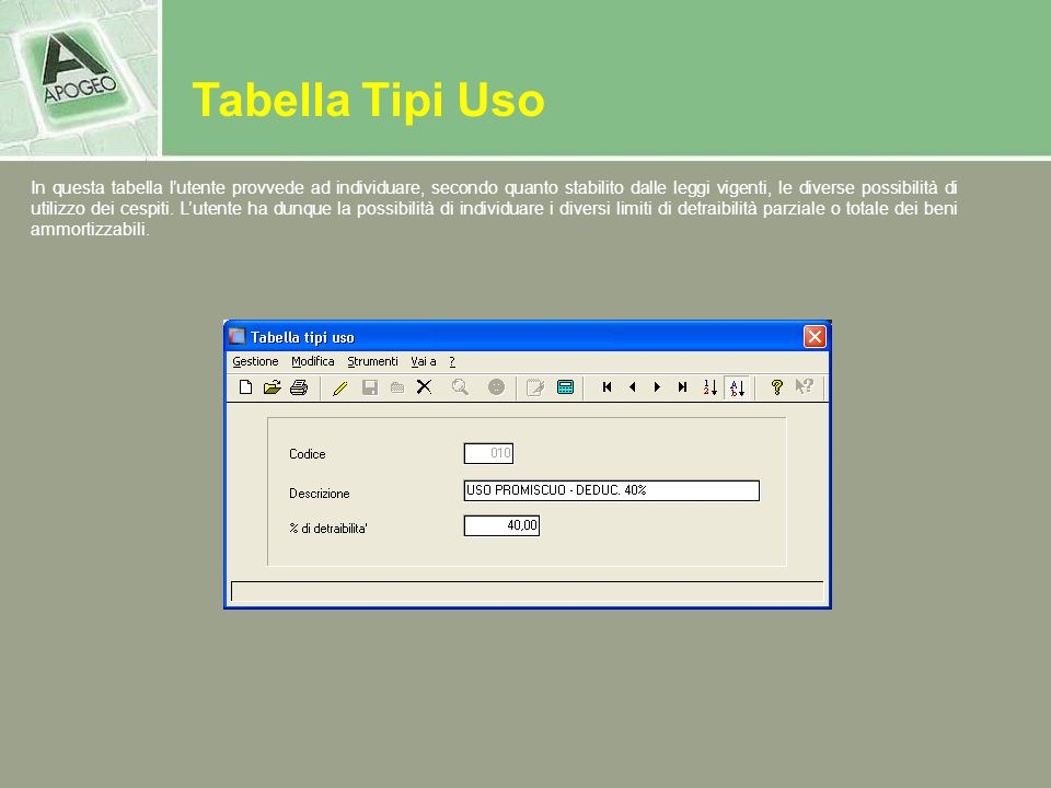 Tabella Tipi Uso