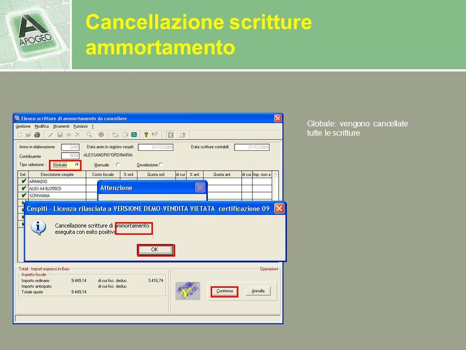 Cancellazione scritture ammortamento
