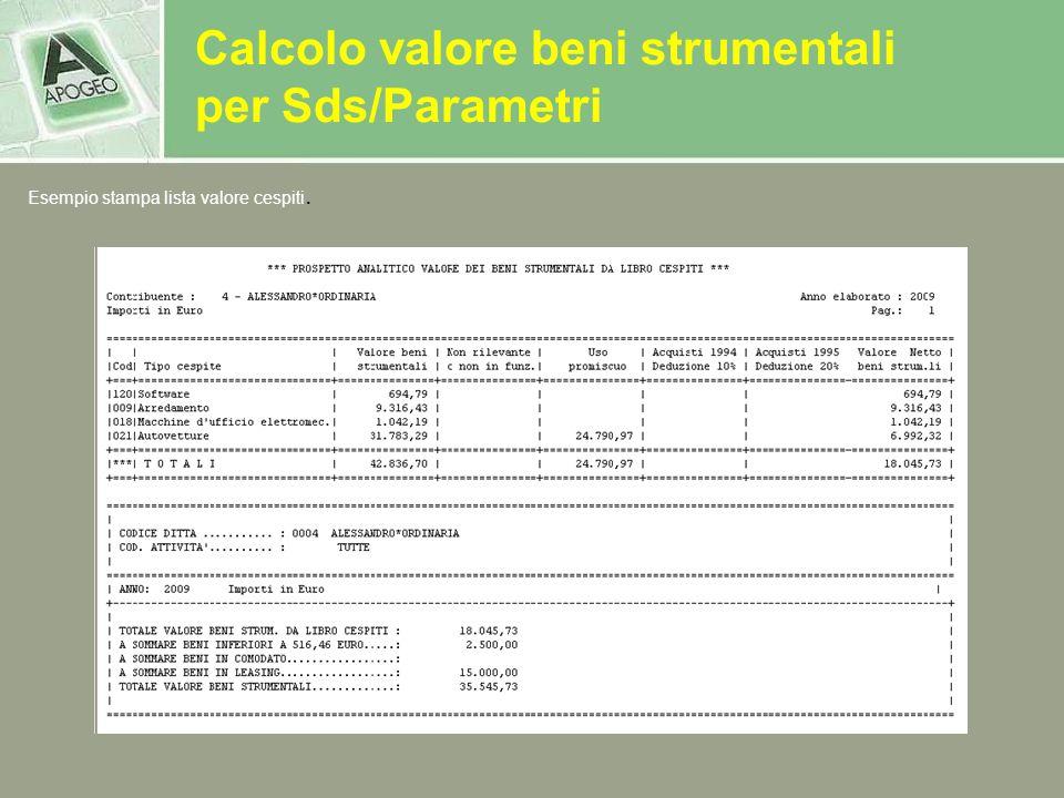 Calcolo valore beni strumentali per Sds/Parametri