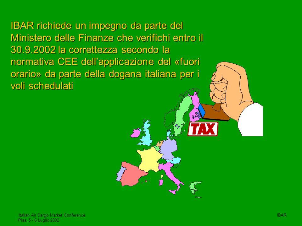 IBAR richiede un impegno da parte del Ministero delle Finanze che verifichi entro il 30.9.2002 la correttezza secondo la normativa CEE dell'applicazione del «fuori orario» da parte della dogana italiana per i voli schedulati