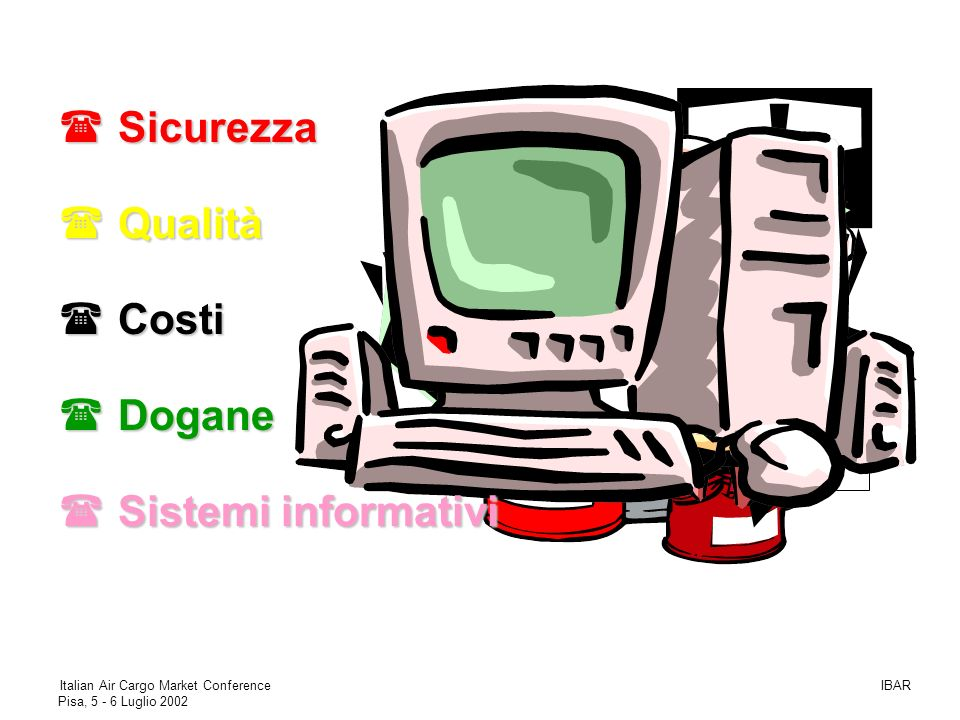 Sicurezza Qualità Costi Dogane Sistemi informativi