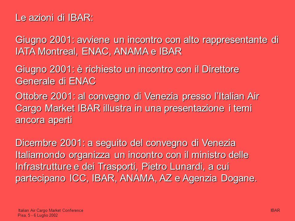 Giugno 2001: è richiesto un incontro con il Direttore Generale di ENAC