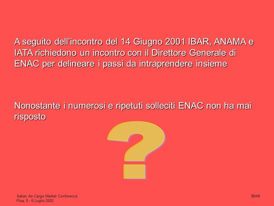 A seguito dell'incontro del 14 Giugno 2001 IBAR, ANAMA e IATA richiedono un incontro con il Direttore Generale di ENAC per delineare i passi da intraprendere insieme