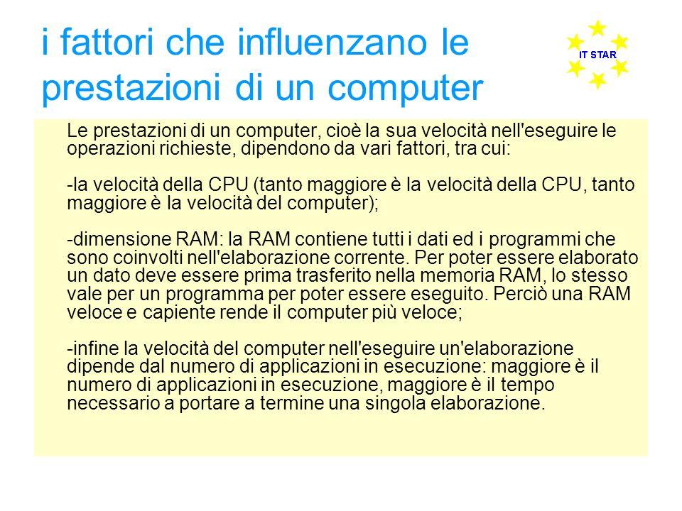 i fattori che influenzano le prestazioni di un computer