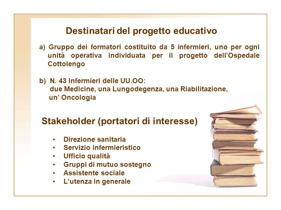 Destinatari del progetto educativo