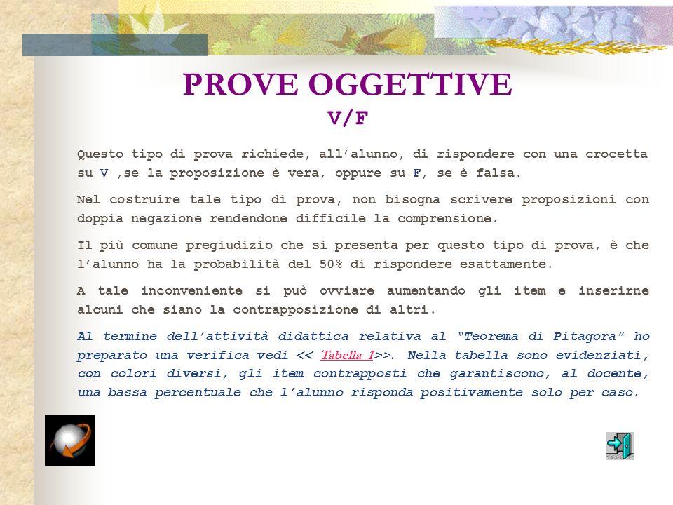 PROVE OGGETTIVE V/F