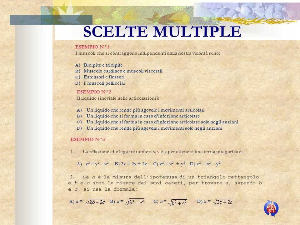 SCELTE MULTIPLE ESEMPIO N°1