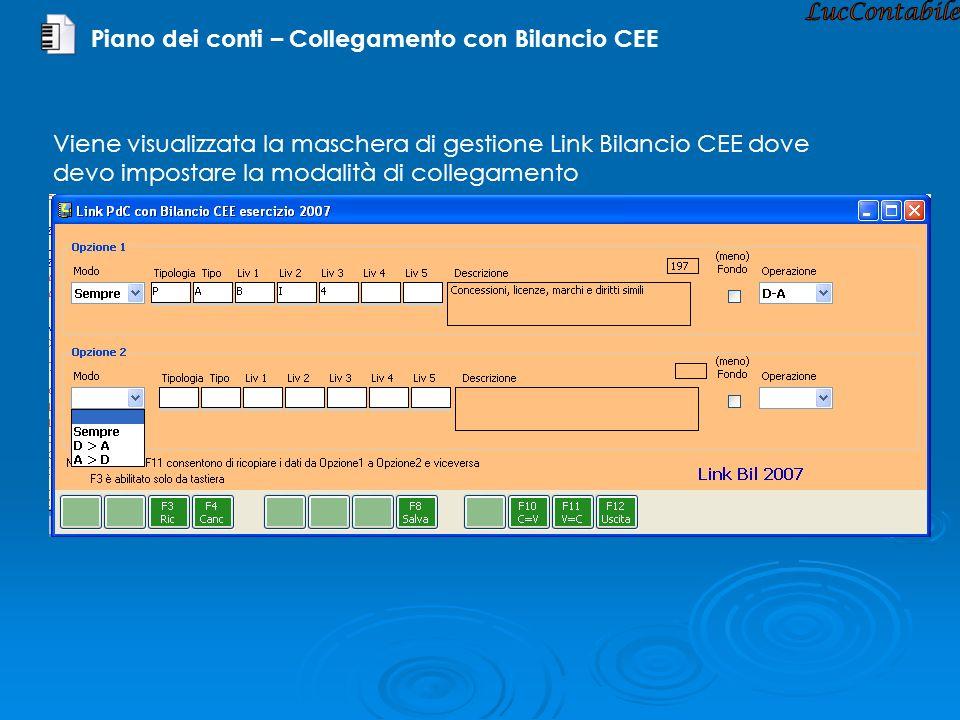 LucContabile Piano dei conti – Collegamento con Bilancio CEE