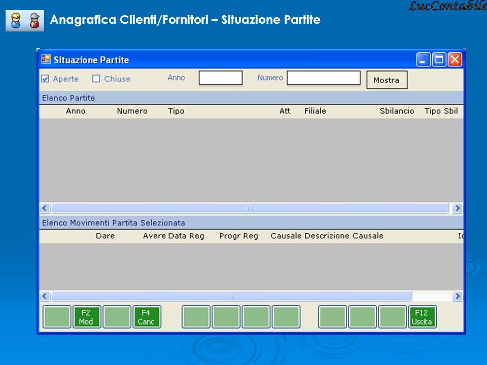 LucContabile Anagrafica Clienti/Fornitori – Situazione Partite