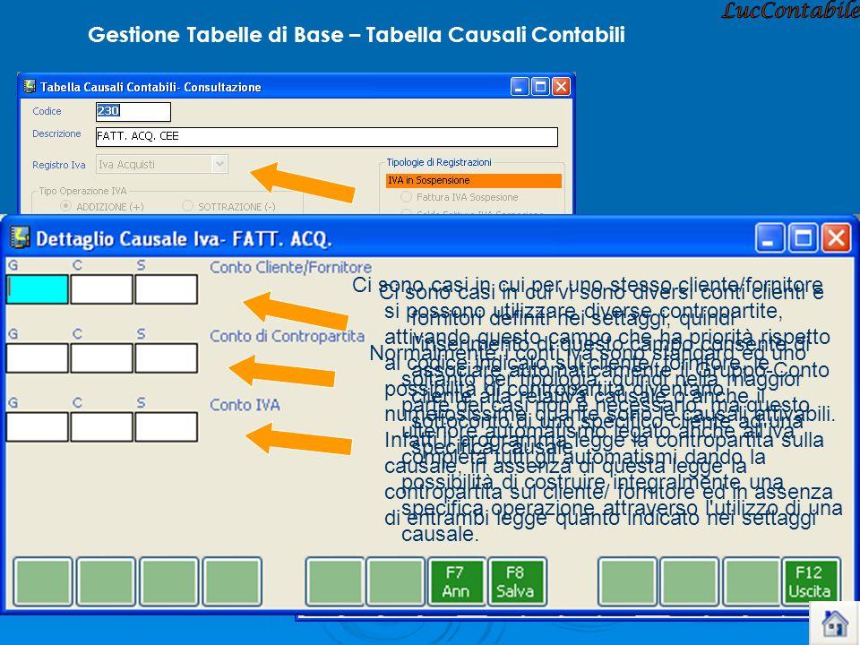 LucContabile Gestione Tabelle di Base – Tabella Causali Contabili