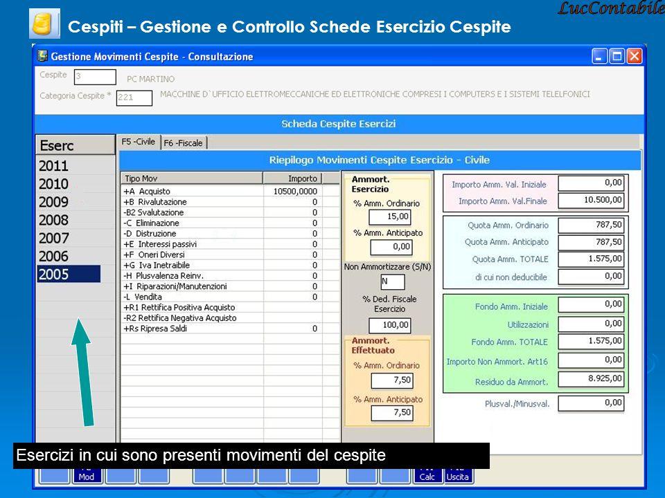 LucContabile Cespiti – Gestione e Controllo Schede Esercizio Cespite
