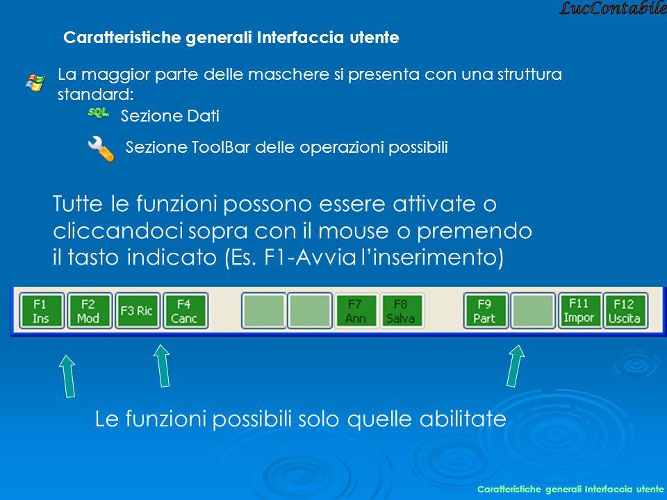 LucContabile Caratteristiche generali Interfaccia utente. La maggior parte delle maschere si presenta con una struttura standard: