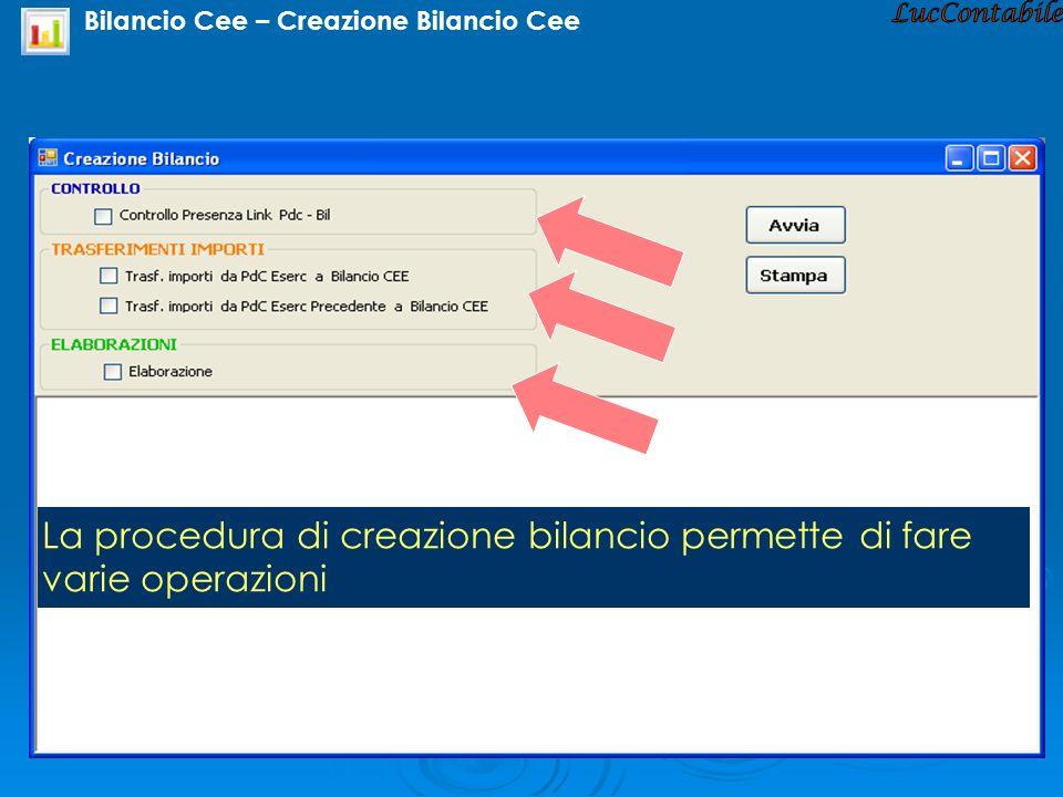 Bilancio Cee – Creazione Bilancio Cee
