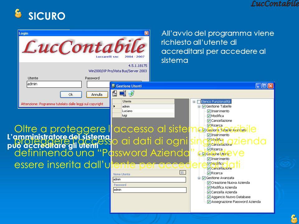LucContabile SICURO. All'avvio del programma viene richiesto all'utente di accreditarsi per accedere al sistema.