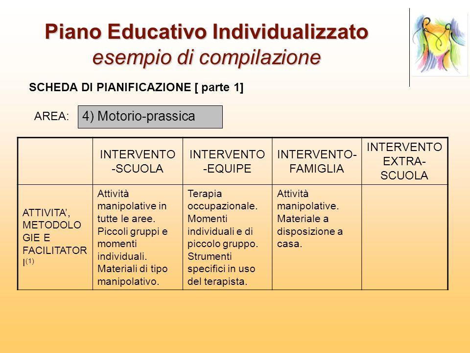 Piano Educativo Individualizzato esempio di compilazione