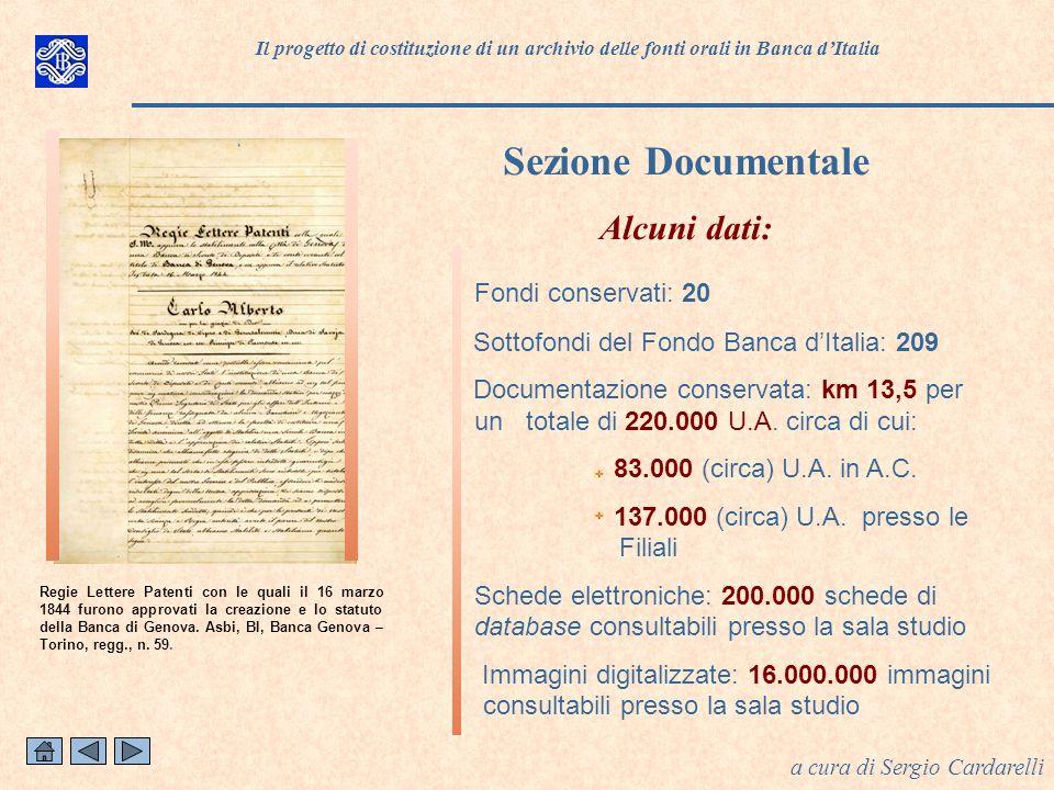 Sezione Documentale Alcuni dati: Fondi conservati: 20