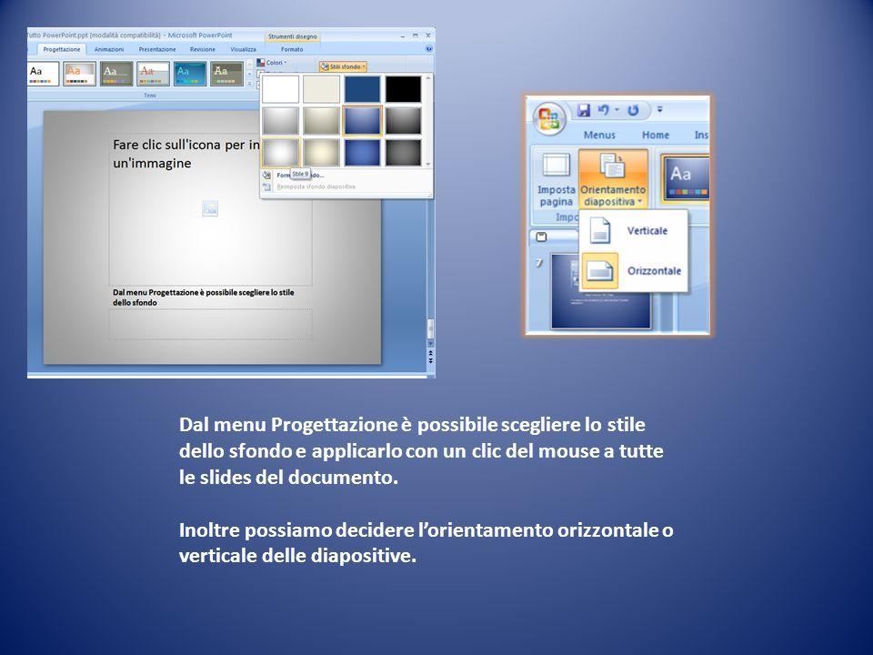 Dal menu Progettazione è possibile scegliere lo stile dello sfondo e applicarlo con un clic del mouse a tutte le slides del documento.