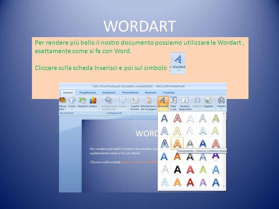 WORDART Per rendere più bello il nostro documento possiamo utilizzare le Wordart , esattamente come si fa con Word.