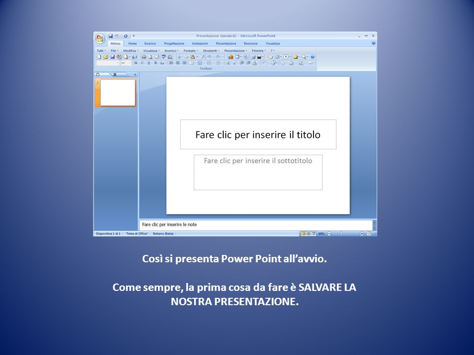 Così si presenta Power Point all'avvio
