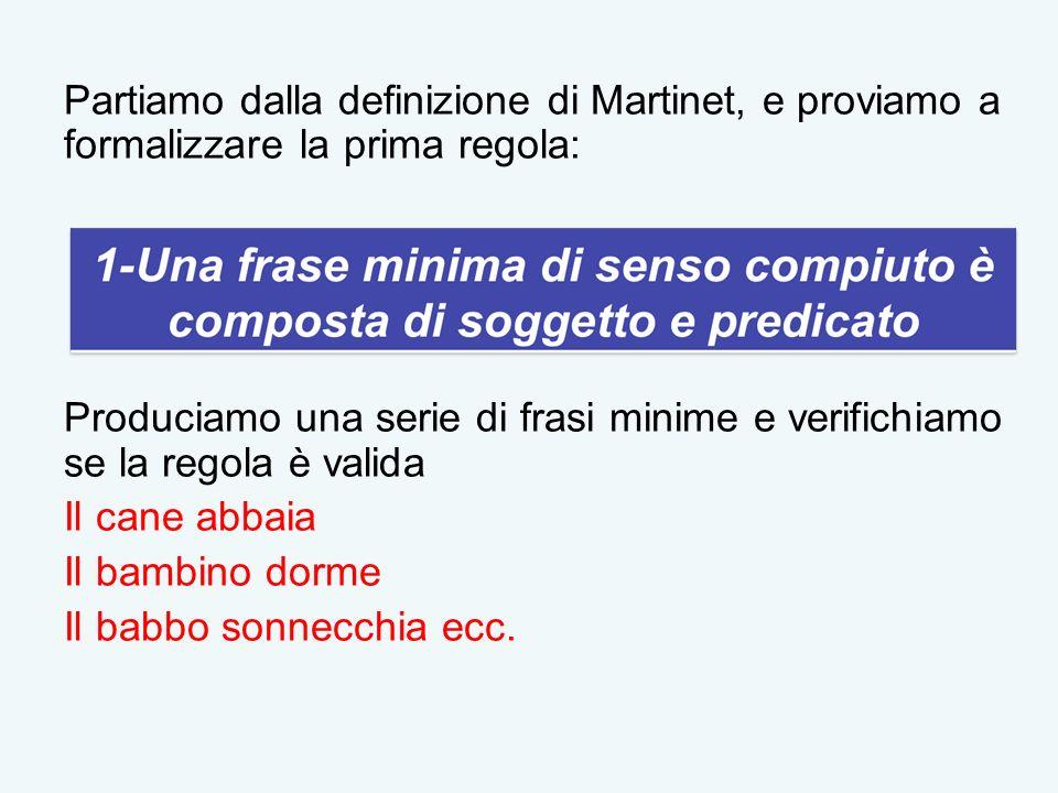 Partiamo dalla definizione di Martinet, e proviamo a formalizzare la prima regola: