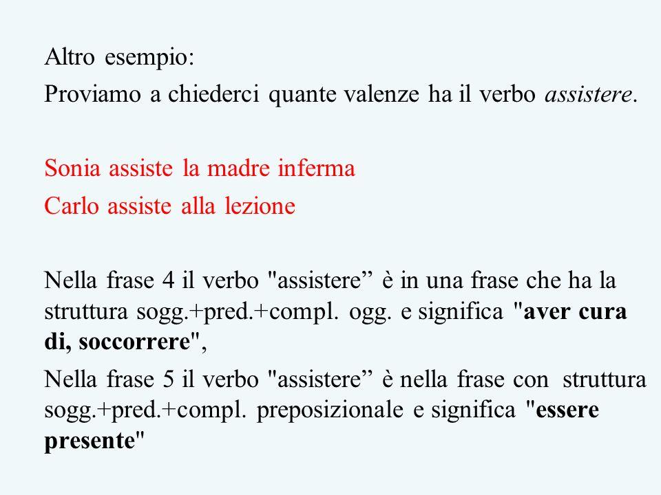Altro esempio: Proviamo a chiederci quante valenze ha il verbo assistere. Sonia assiste la madre inferma.