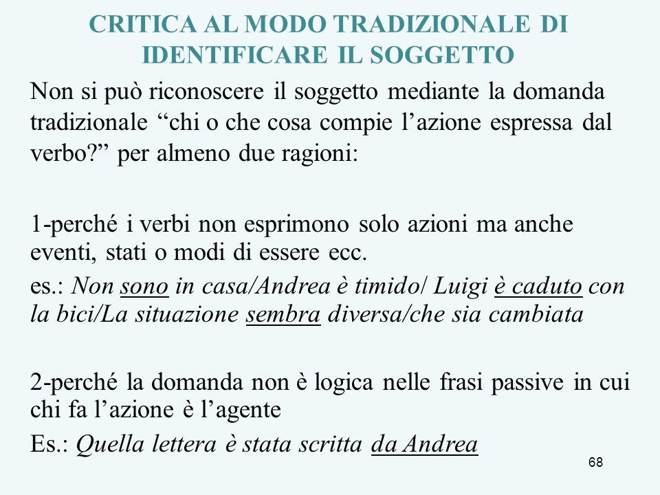 CRITICA AL MODO TRADIZIONALE DI IDENTIFICARE IL SOGGETTO