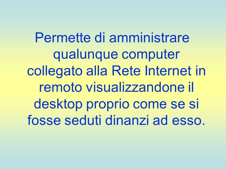 Permette di amministrare qualunque computer collegato alla Rete Internet in remoto visualizzandone il desktop proprio come se si fosse seduti dinanzi ad esso.