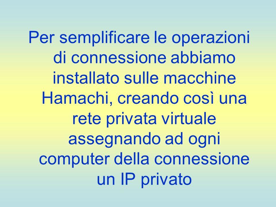 Per semplificare le operazioni di connessione abbiamo installato sulle macchine Hamachi, creando così una rete privata virtuale assegnando ad ogni computer della connessione un IP privato