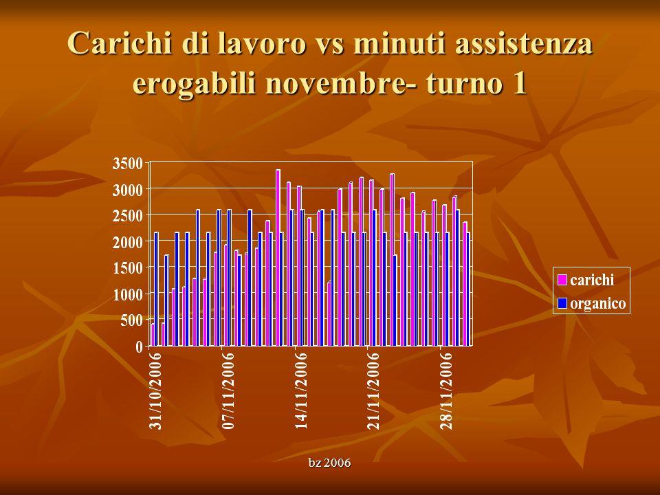 Carichi di lavoro vs minuti assistenza erogabili novembre- turno 1