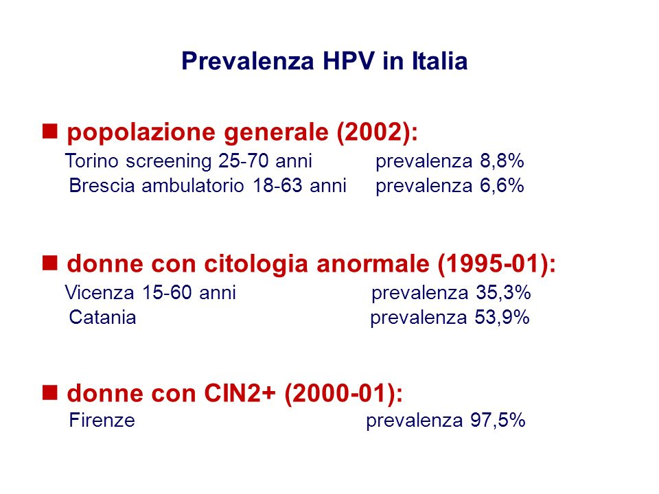 Prevalenza HPV in Italia
