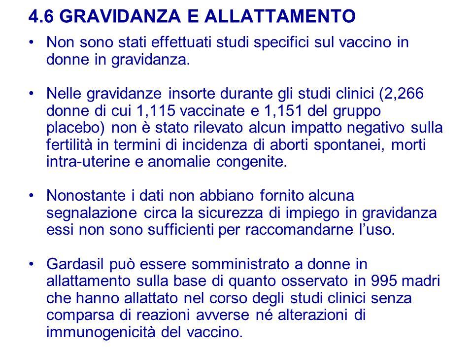4.6 GRAVIDANZA E ALLATTAMENTO