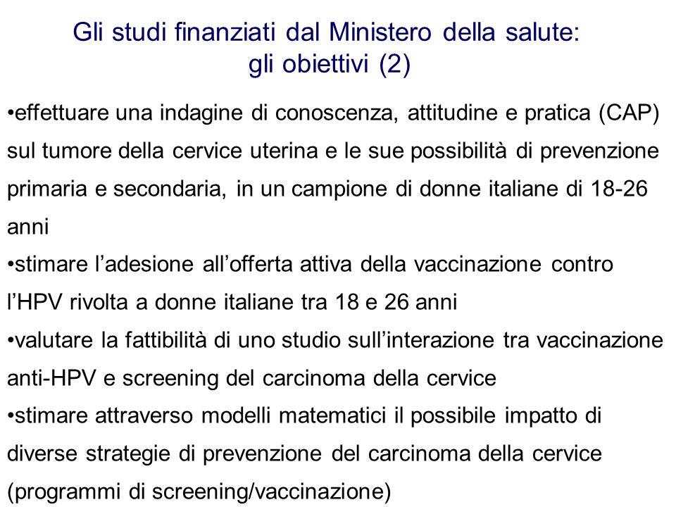 Gli studi finanziati dal Ministero della salute: gli obiettivi (2)