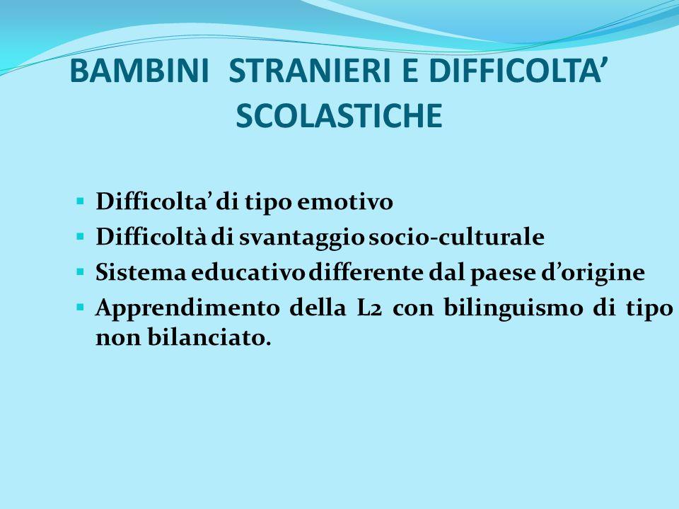 BAMBINI STRANIERI E DIFFICOLTA' SCOLASTICHE