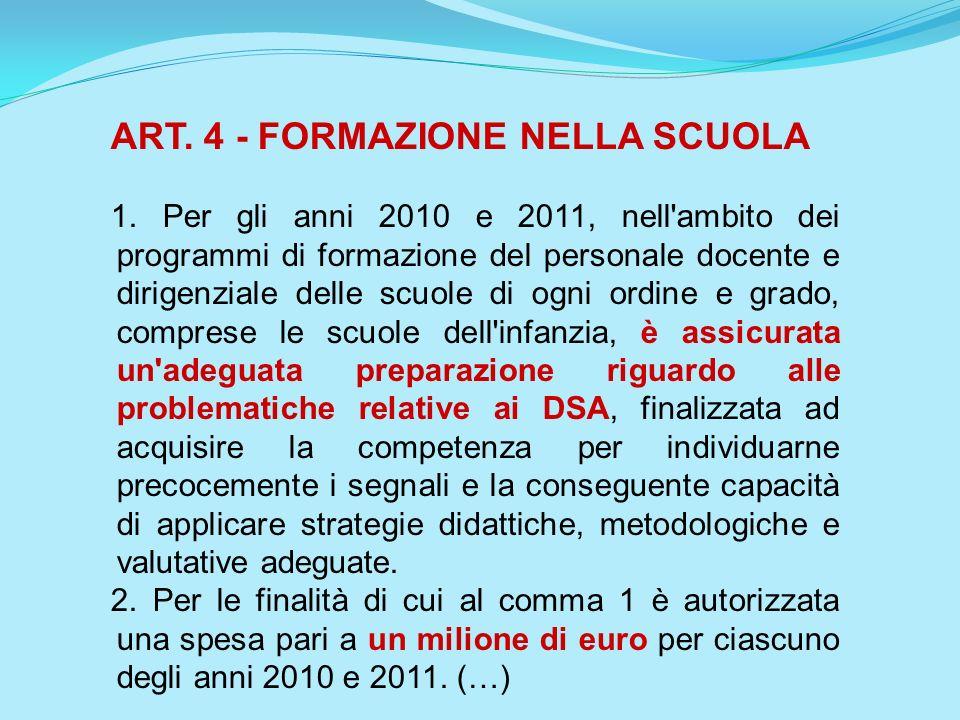 ART. 4 - FORMAZIONE NELLA SCUOLA