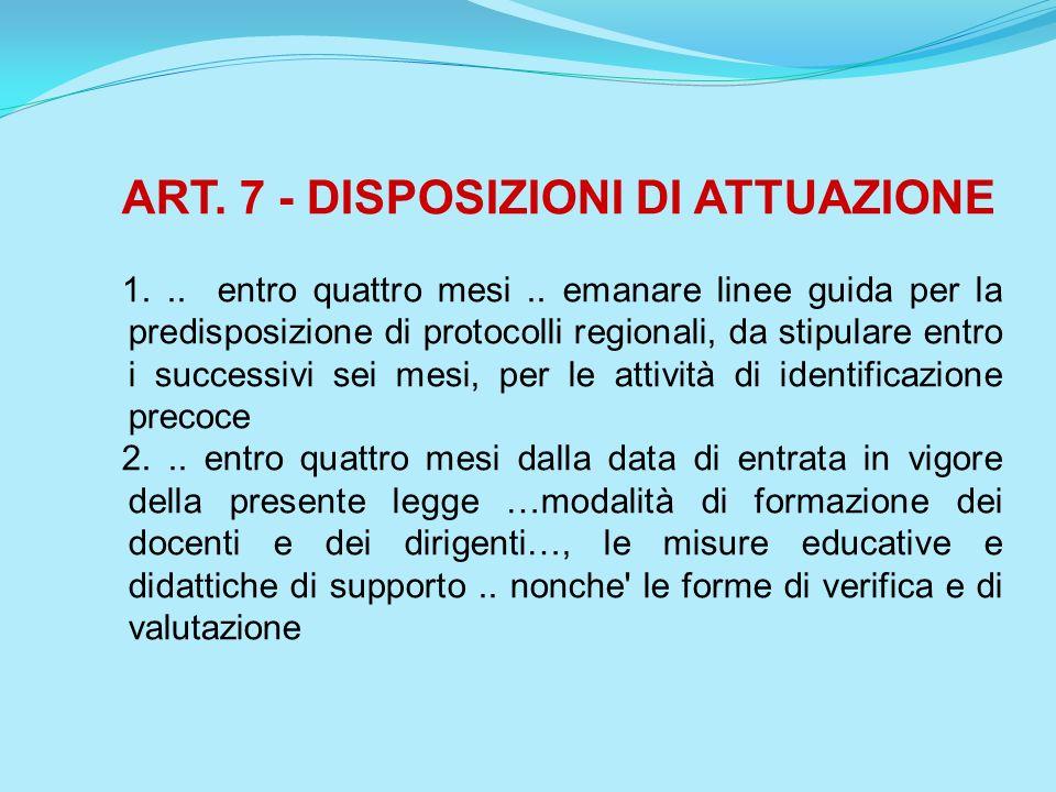 ART. 7 - DISPOSIZIONI DI ATTUAZIONE