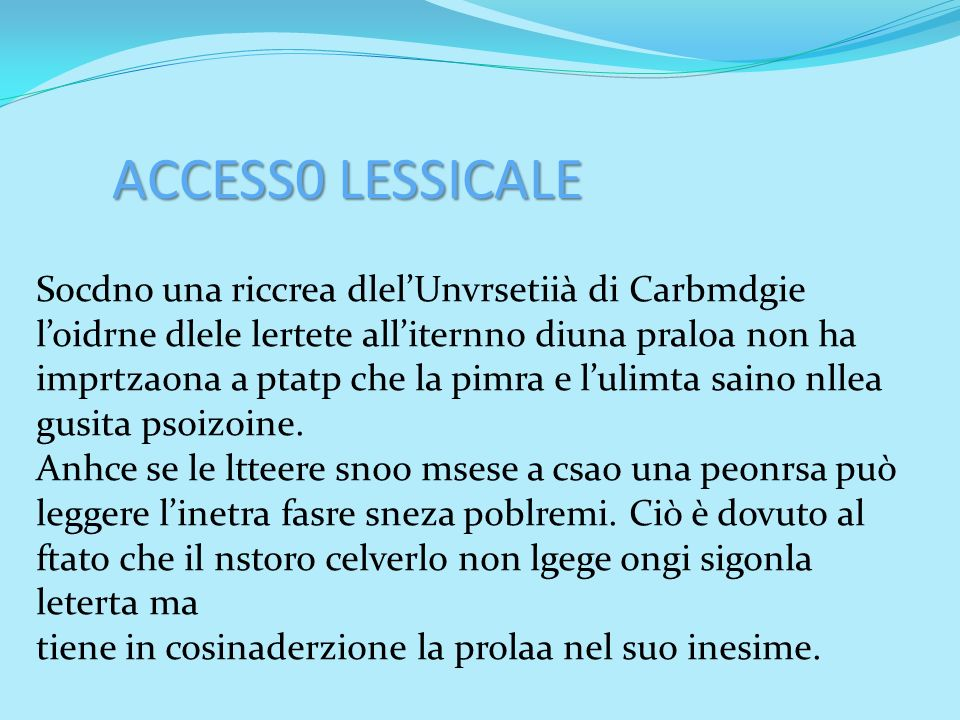 ACCESS0 LESSICALE