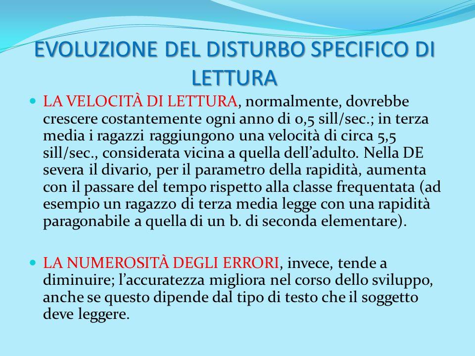 EVOLUZIONE DEL DISTURBO SPECIFICO DI LETTURA