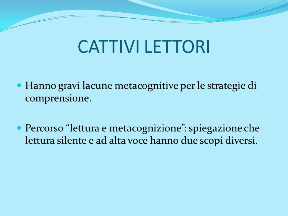 CATTIVI LETTORI Hanno gravi lacune metacognitive per le strategie di comprensione.