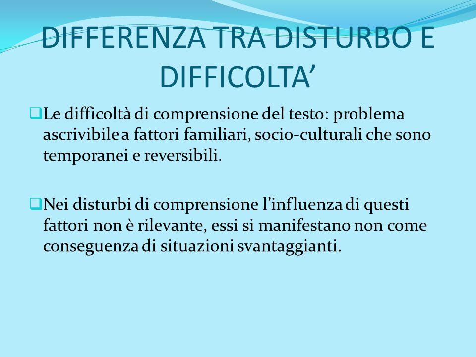DIFFERENZA TRA DISTURBO E DIFFICOLTA'