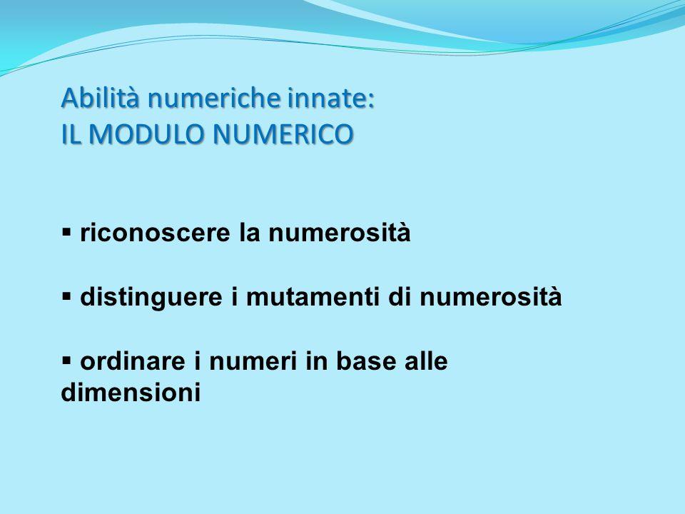 Abilità numeriche innate: IL MODULO NUMERICO