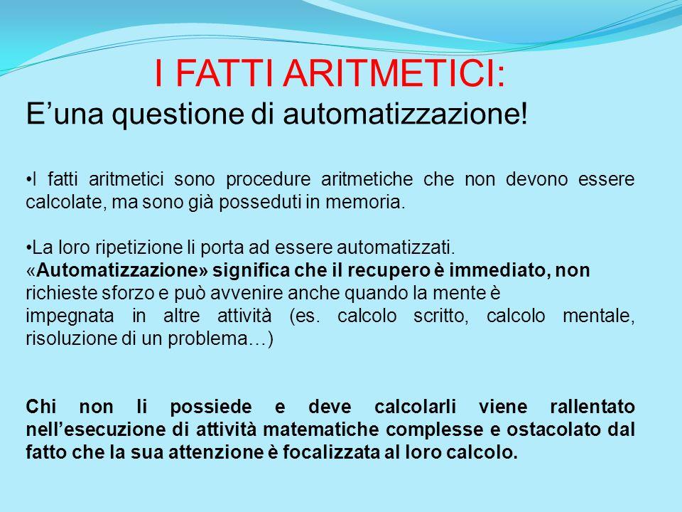 I FATTI ARITMETICI: E'una questione di automatizzazione!
