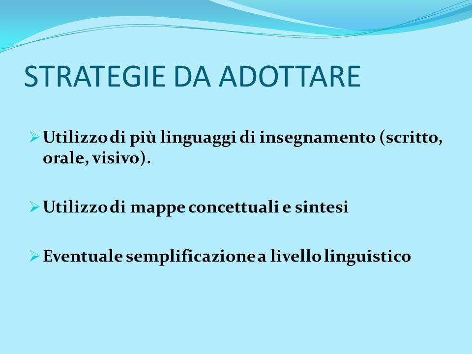 STRATEGIE DA ADOTTARE Utilizzo di più linguaggi di insegnamento (scritto, orale, visivo). Utilizzo di mappe concettuali e sintesi.