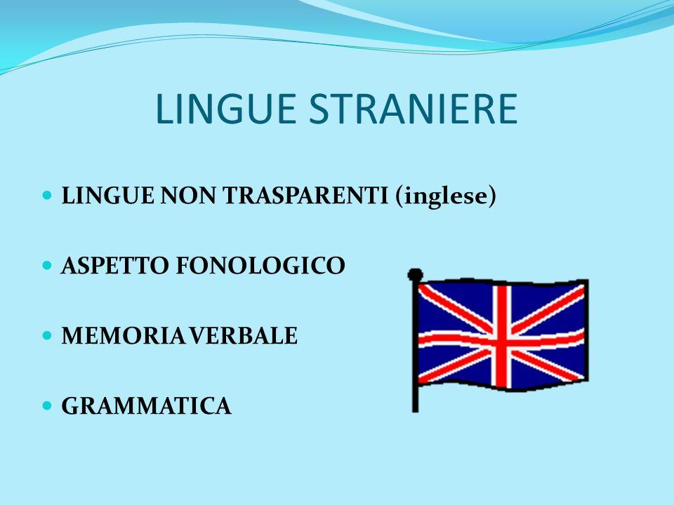 LINGUE STRANIERE LINGUE NON TRASPARENTI (inglese) ASPETTO FONOLOGICO