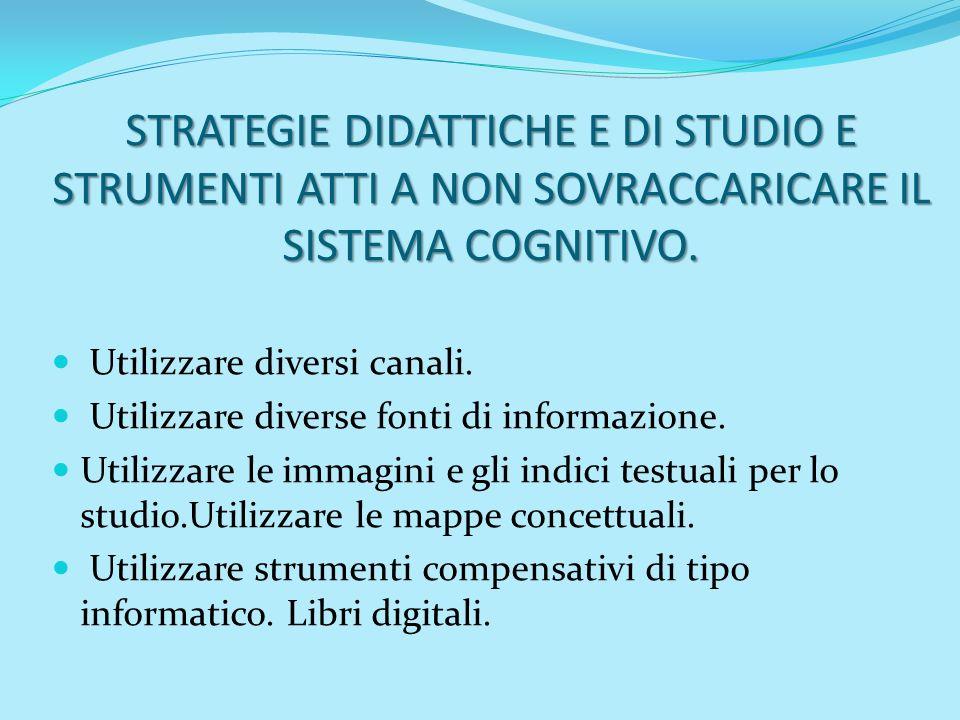 STRATEGIE DIDATTICHE E DI STUDIO E STRUMENTI ATTI A NON SOVRACCARICARE IL SISTEMA COGNITIVO.