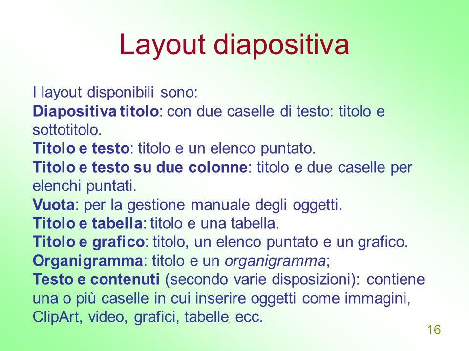 Layout diapositiva I layout disponibili sono: Diapositiva titolo: con due caselle di testo: titolo e sottotitolo.