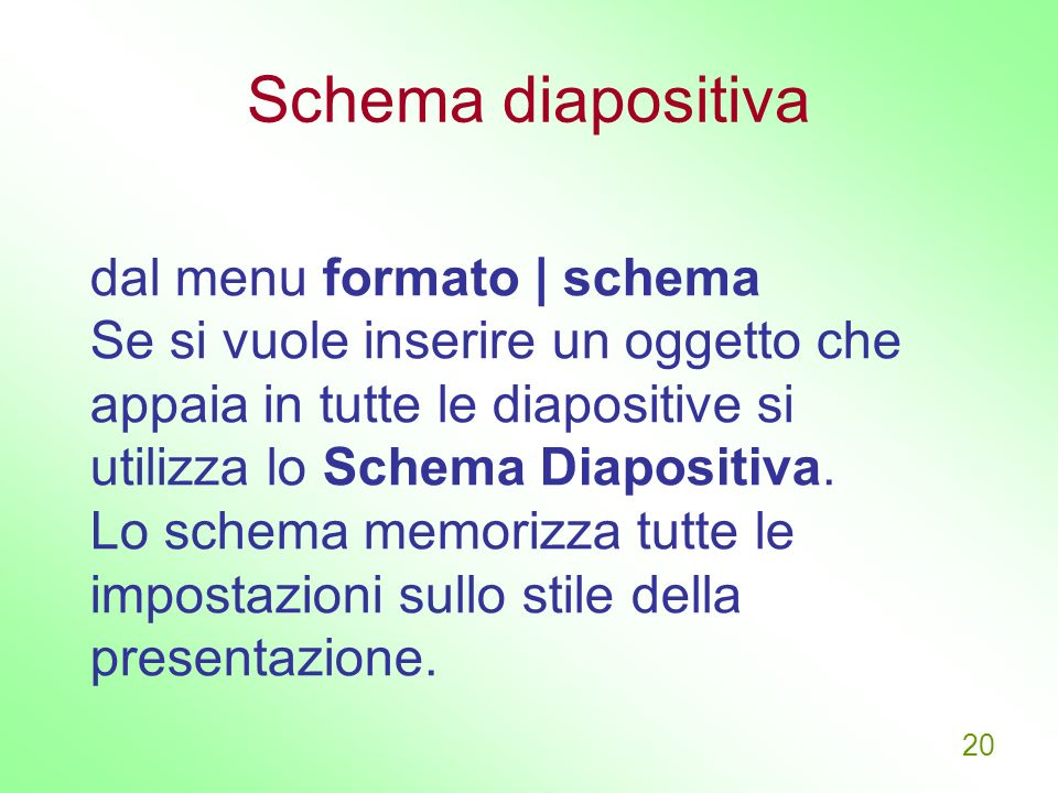 Schema diapositiva dal menu formato | schema