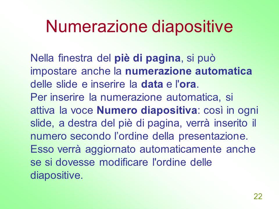 Numerazione diapositive