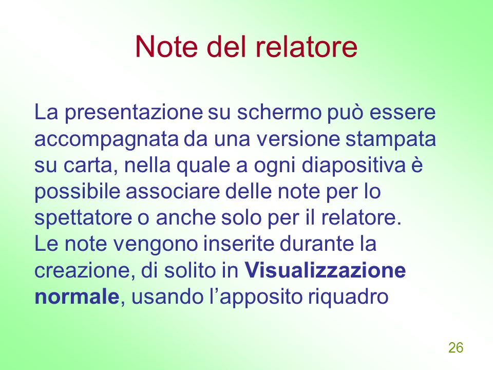 Note del relatore