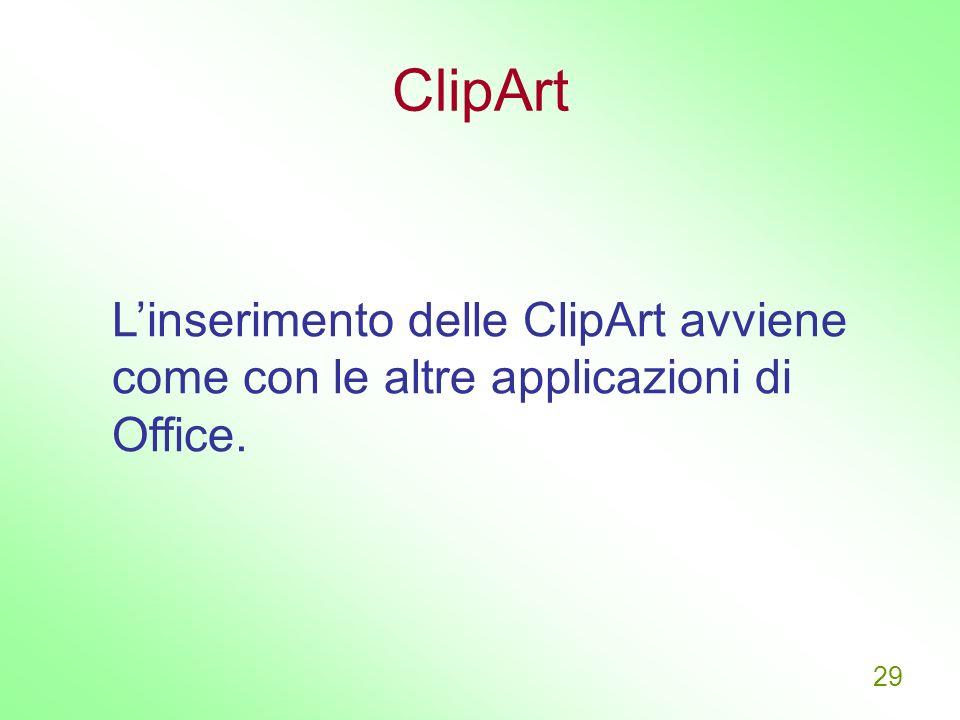 ClipArt L'inserimento delle ClipArt avviene come con le altre applicazioni di Office.